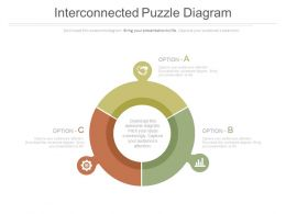 Three Interconnected Puzzle And Icons Diagram Powerpoint Slides