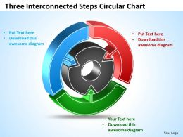 Three Interconnected Steps Circular Chart Powerpoint Templates ppt presentation slides 812