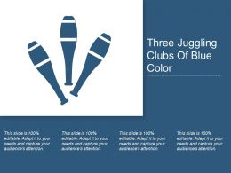 Three Juggling Clubs Of Blue Color