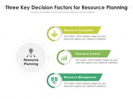 Three Key Decision Factors For Resource Planning