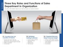 Three Key Roles And Functions Of Sales Department In Organization