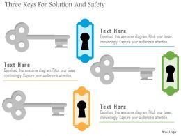 Three Keys For Solution And Safety Flat Powerpoint Design