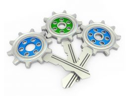 Three Keys With Gear Design Stock Photo