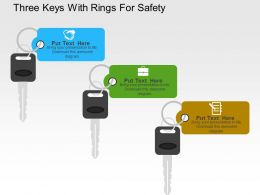 Three Keys With Rings For Safety Flat Powerpoint Design