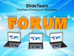Three Laptops Connected To Word Forum Powerpoint Templates Ppt Themes And Graphics