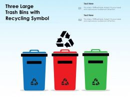 Three Large Trash Bins With Recycling Symbol