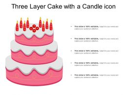 Three Layer Cake With A Candle Icon