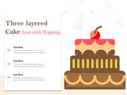 Three Layered Cake Icon With Toppings