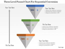 Three Level Funnel Chart For Sequential Conversion Flat Powerpoint Design