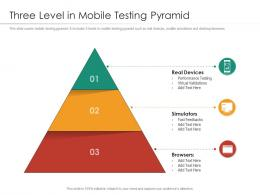 Three Level In Mobile Testing Pyramid