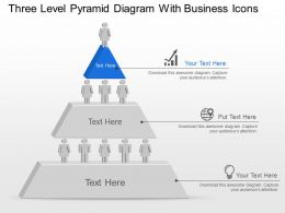 Three Level Pyramid Diagram With Business Icons Powerpoint Template Slide