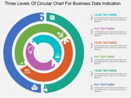 Three Levels Of Circular Chart For Business Data Indication Flat Powerpoint Design