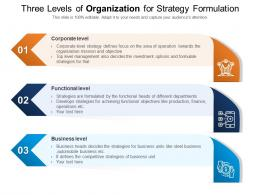 Three Levels Of Organization For Strategy Formulation