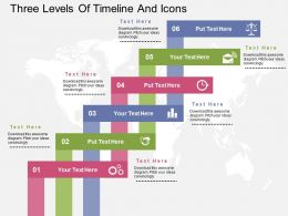Three Levels Of Timelines And Icons Ppt Presentation Slides