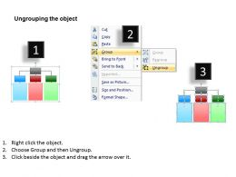 three lists of a survey shown by hierarchy of boxes one flowing into three powerpoint templates 0712