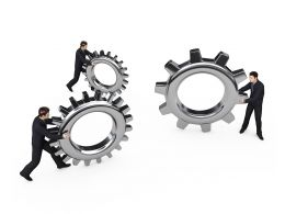 Three Man Holding Gears Shows Business Innovation Creative Idea Stock Photo