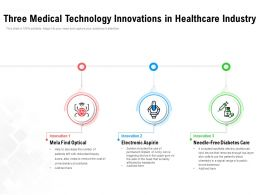 Three Medical Technology Innovations In Healthcare Industry