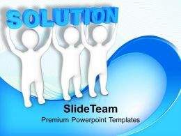 Three Men Join Forces To Lift The Words Solution Powerpoint Templates Ppt Themes And Graphics 0113