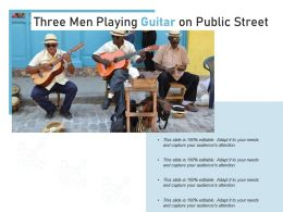 Three Men Playing Guitar On Public Street