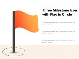 Three Milestone Icon With Flag In Circle