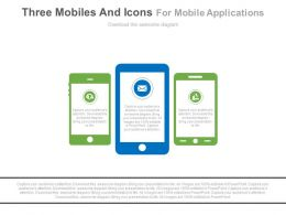 Three Mobiles And Icons For Mobile Applications Powerpoint Slides