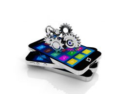 Three Mobiles With Silver Gears Stock Photo