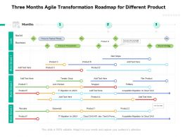 Three Months Agile Transformation Roadmap For Different Product