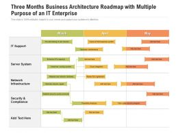 Three Months Business Architecture Roadmap With Multiple Purpose Of An IT Enterprise