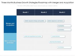 Three Months Business Growth Strategies Roadmap With Merger And Acquisition