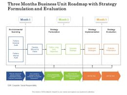Three Months Business Unit Roadmap With Strategy Formulation And Evaluation