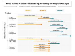 Three Months Career Path Planning Roadmap For Project Manager