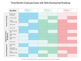 Three Months Employee Career With Skills Development Roadmap
