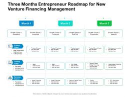Three Months Entrepreneur Roadmap For New Venture Financing Management