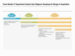 Three Months IT Department Cultural Due Diligence Roadmap For Merger And Acquisition
