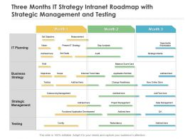 Three Months IT Strategy Intranet Roadmap With Strategic Management And Testing