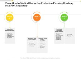 Three Months Medical Device Pre Production Planning Roadmap With FDA Regulatory
