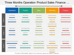 Three Months Operation Product Sales Finance And Business Swimlane