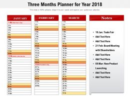 Three Months Planner For Year 2018