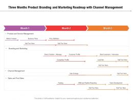Three Months Product Branding And Marketing Roadmap With Channel Management