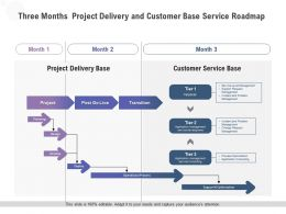 Three Months Project Delivery And Customer Base Service Roadmap