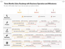Three Months Sales Roadmap With Business Operation And Milestones