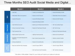 Three Months Seo Audit Social Media And Digital Marketing Swimlane