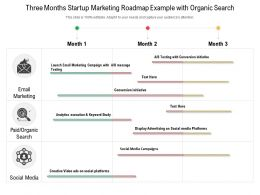 Three Months Startup Marketing Roadmap Example With Organic Search