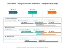 Three Months Training Roadmap For New Product Development By Manager