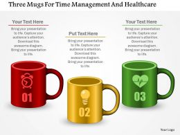 Three Mugs For Time Management And Healthcare Powerpoint Template