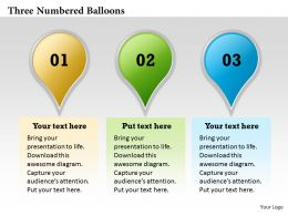 Three Numbered Balloons Powerpoint Template Slide