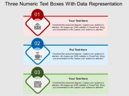 Three Numeric Text Boxes With Data Representation Flat Powerpoint Design