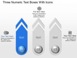 Three Numeric Text Boxes With Icons Powerpoint Template Slide