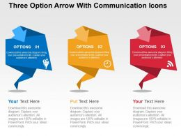 Three Option Arrow With Communication Icons Flat Powerpoint Design