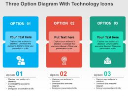 Three Option Diagram With Technology Icons Flat Powerpoint Design